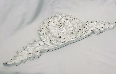 """21"""" Architectural Carved Ornate Pediment Shabby French Chic with Shell & Leaves"""