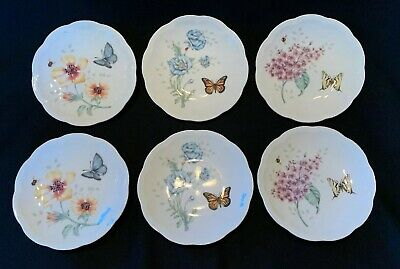 """Set of 6 Lenox BUTTERFLY MEADOW 6.5"""" Party Plates With Butterflies New"""