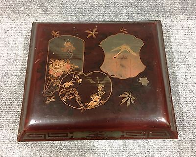 Wooden Lacquer Ware Box Case Measures 25 x 22 cm tall 8 cm