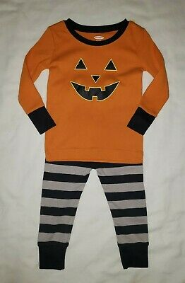 Old Navy Boys Size 12-18M 2pc Halloween Pumpkin Stripes Orange Gray Pajamas New
