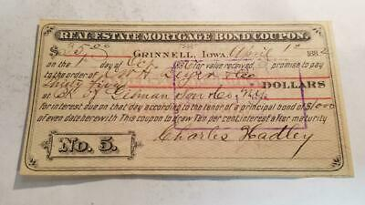 Real Estate Mortgage Bond Coupon 1884, Grinnell,iowa