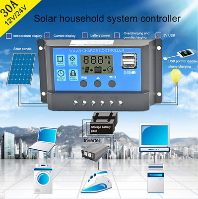 10A-30A Solar Panel Controller Battery Charge Regulator 12V/24V + Dual USB  T<m