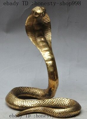 """7""""Chinese fengshui Brass copper animal Lucky Cobra Snake wealth Statue Sculpture"""
