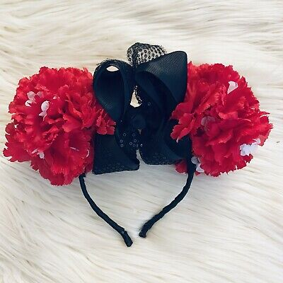 Disney Parks Minnie Mouse Ears Bow Flowers Floral Garden Red Headband Hat