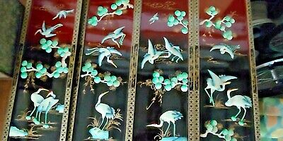 4 Vintage Asian Black Lacquer & Red with Mother of Pearl Crane Artwork Panels