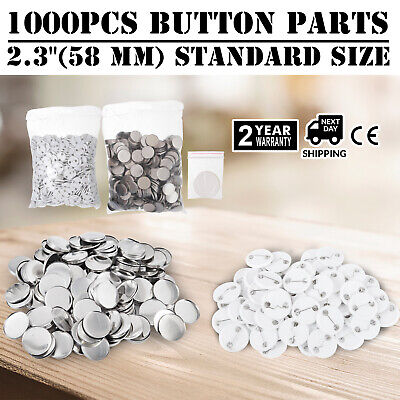 1000Pcs 58mm Button for Badge Maker Machine Plastic cover easy carry Clip Pin