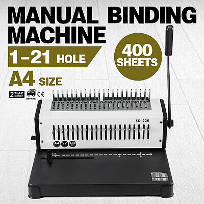 Steel Comb Coil Binding Machine A4 21 Holes Paper Puncher Book 400 Sheet!