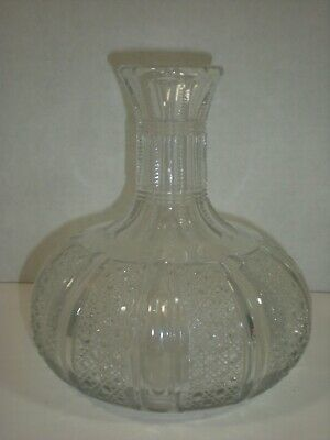 1800s CARAFE Water DECANTER Hand Blown in Mold Heavy Glass Antique