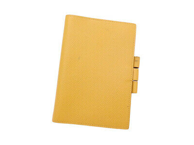 Auth HERMES Square A (1997) Note/Agenda Cover Yellow Leather - e41677