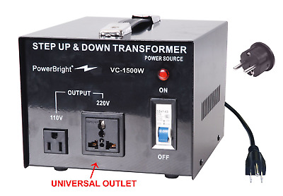 PowerBright Step Up & Down Transformer, Power ON/Off Switch, Can be Used in 110