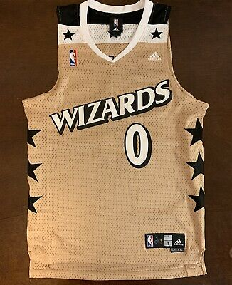 new style a457e 84fd0 GILBERT ARENAS WASHINGTON Wizards NBA Gold Throwback Adidas ...