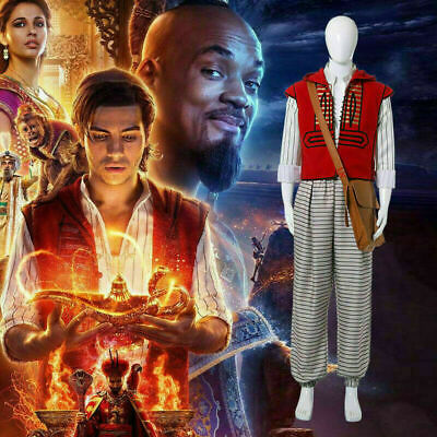 New 2019 Movie Aladdin Costume Cosplay Prince Halloween Clothes Suit Mens Fully