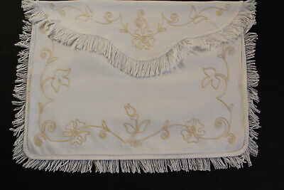 Vintage cream lingerie or nightdress case/bag with gold embroidery.