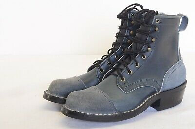 "Nicks Handmade Boots Leather Dress Casual 6"" Ink Blue Size 8.5D"
