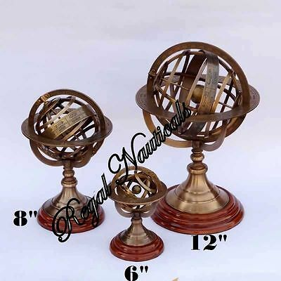 Collectible Nautical Brass Sphere Astrolabe Armillary Set Of Three With WoodBase