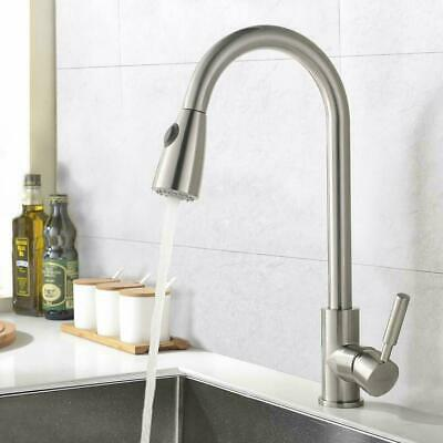 Single Handle Swivel Kitchen Sink Faucet Pull Out Spray Chrome Polished Taps