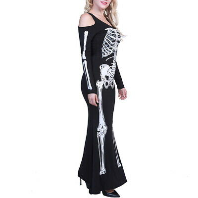 Womens Halloween Play Costume Halloween Cosplay Queen Bones Skeleton Dress GIFT