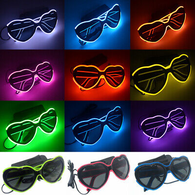 LED EL Wire Glasses Light Up Heart Shades Sunglasses Eyewear for Nightclub Party