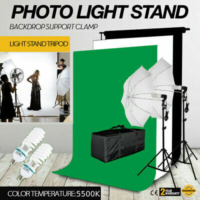 Photo Studio Photography Kit 4 Light Bulb Umbrella Muslin + 3 Backdrop Stand Set