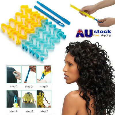 12Pcs Water Wave Magic Curlers Formers Leverage Spiral Hairdressing Tool 30-45cm