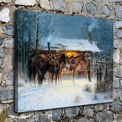 "Western Cowboy Horse Winter Home Decor HD Canvas Print Picture Wall Art 16""x22"""