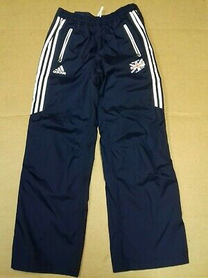 J885 Womens Adidas Shiny Navy White Over Tracksuit Bottoms L 12 W30 L31 Bnwot