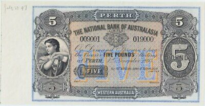 National Bank of Australasia (Perth) 1893 Five Pounds Unissued Specimen Note MVR
