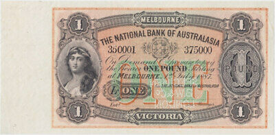 National Bank of Australasia (Melbourne) 1887 One Pound Unissued Specimen Note M