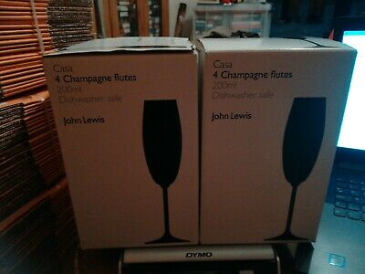 Boxed 8 x John Lewis Clear Glass Casa 200ml Champagne Flutes Dishwasher Safe