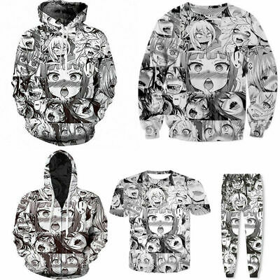 Ahegao Emoji Face Adult Anime 3D Mens Hoodie Pullover Hooded Jacket Jumper Hot
