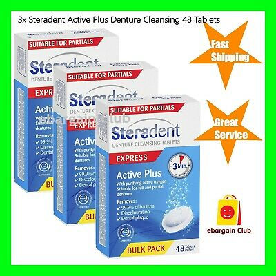 3x Steradent Active Plus Denture Cleansing 48 Tablets eBargainClub