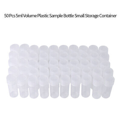 50X 5ml Plastic Sample Mini Small Vial Bottle Test Tube Lab Storage Containers