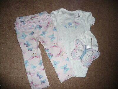 NWT The Childrens Place butterfly Baby Girls 3 piece outfit set 9-12 months