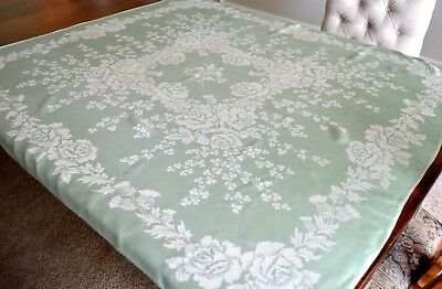 VINTAGE 1940s TABLECLOTH LIGHT GREEN RAYON DAMASK ROSES CLOVERS REVERSIBLE
