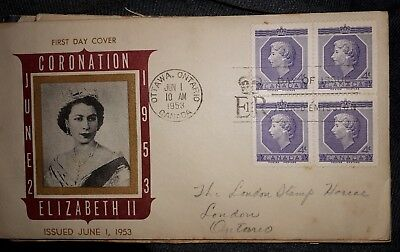 """**Canadian """"First Day Cover- """"1953 Coronation Of Queen Elizabeth"""" - 4 X 4 Cents"""