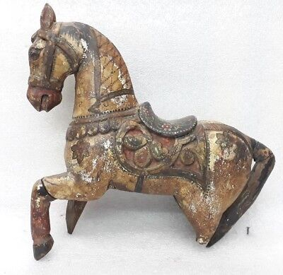Antique Wooden Horse Sculpture Statue Figure Painted Fine Art Piece MP