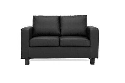 Black Sofa 2 seater 'Crib 5' Faux Leather - Compact Small Free Next Day Delivery