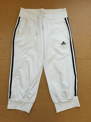 K132 Womens Adidas White Black 3/4 Joggers Tracksuit Bottoms Uk 10 W28 L21