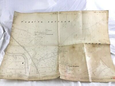 1910 Antique Map of Tarring Neville Village Lewes District South Heighton Sussex
