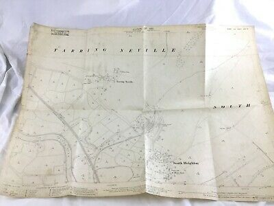 1910 Antique Map of Tarring Neville Village Lewes South Heighton East Sussex