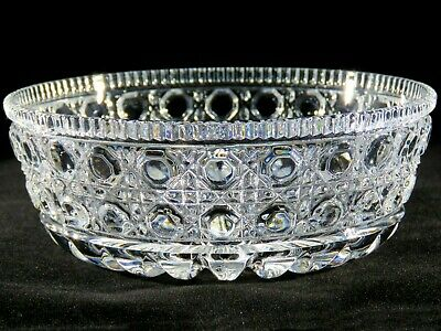 Vtg Set 4 Federal Glass WINDSOR Button & Cane Crystal Dinner Soup Bowls