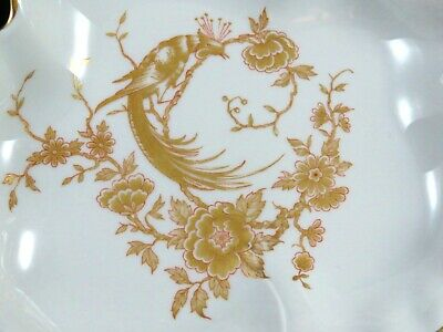 Limoges France Pottery Gold Pheasant Artistic Maple Leaf Shaped Candy Nut Dish