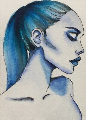 Original ACEO painting by watercor.Blue female profile portrait by Viviana Scala