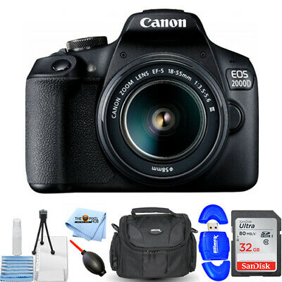 Canon EOS 2000D / Rebel T7 with EF-S 18-55mm III Lens Starter 32GB Case Bundle