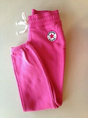 Converse All Star Joggers Girls Medium Pink Elastic Tie Waist Jogging Pants