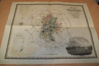 1825 Large map of Bedfordshire 75 x 65cm, by C and J Greenwood