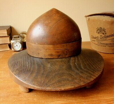 Vintage Milliners Wooden Hat Block. Antique Mountie Campaign Style Shop Display