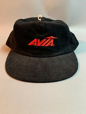 Vintage Black AVIA Logo Black Corduroy Snapback Hat NBA Running NWOT New