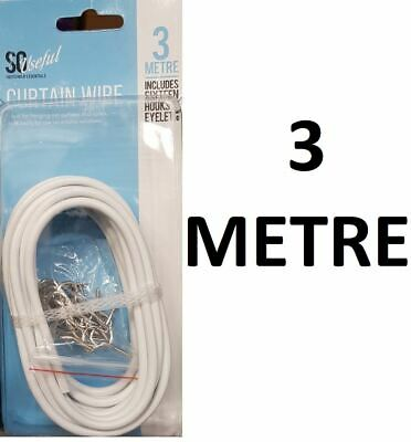 3 Metre White Window Net Curtain Wire Cord Cable With Hooks And Eyes