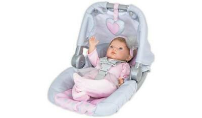 Chad Valley Tiny Treasures Doll's Car Seat Carrier Grey Plastic Frame, Pink NEW